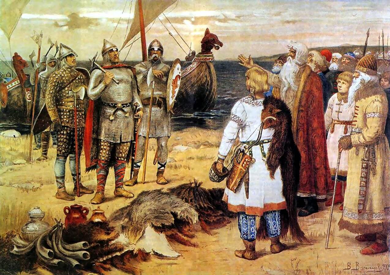 O Riurik varegos e seus irmãos e Sinite Truvor entram em contato com os eslavos. Autor Viktor Vasnetsov