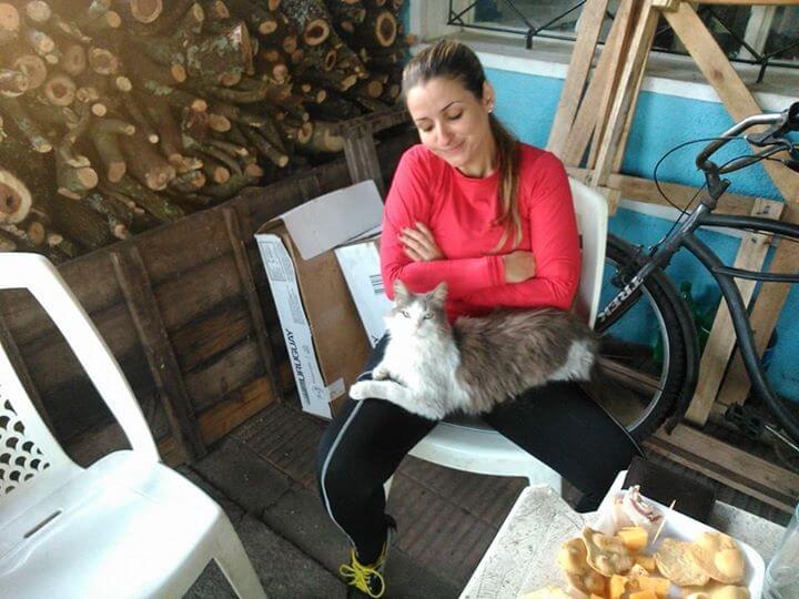 """Sair do Brasil de Bicicleta - Gato folgado no Bar """"pé sujo"""" em Ecilda Paullier. (Crédito: Márcia Procópio)"""