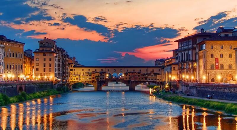 Pôr Do Sol Florença Itália Ponte Vecchio
