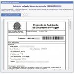 Tela 05 do pedido de passaporte. Comprovante e guia de pagamento