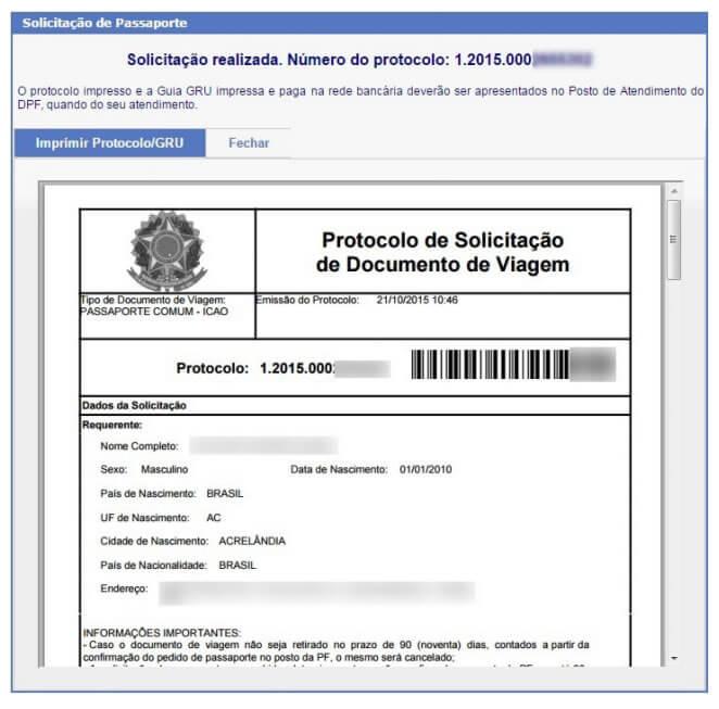 Tela 01 do pedido de passaporte