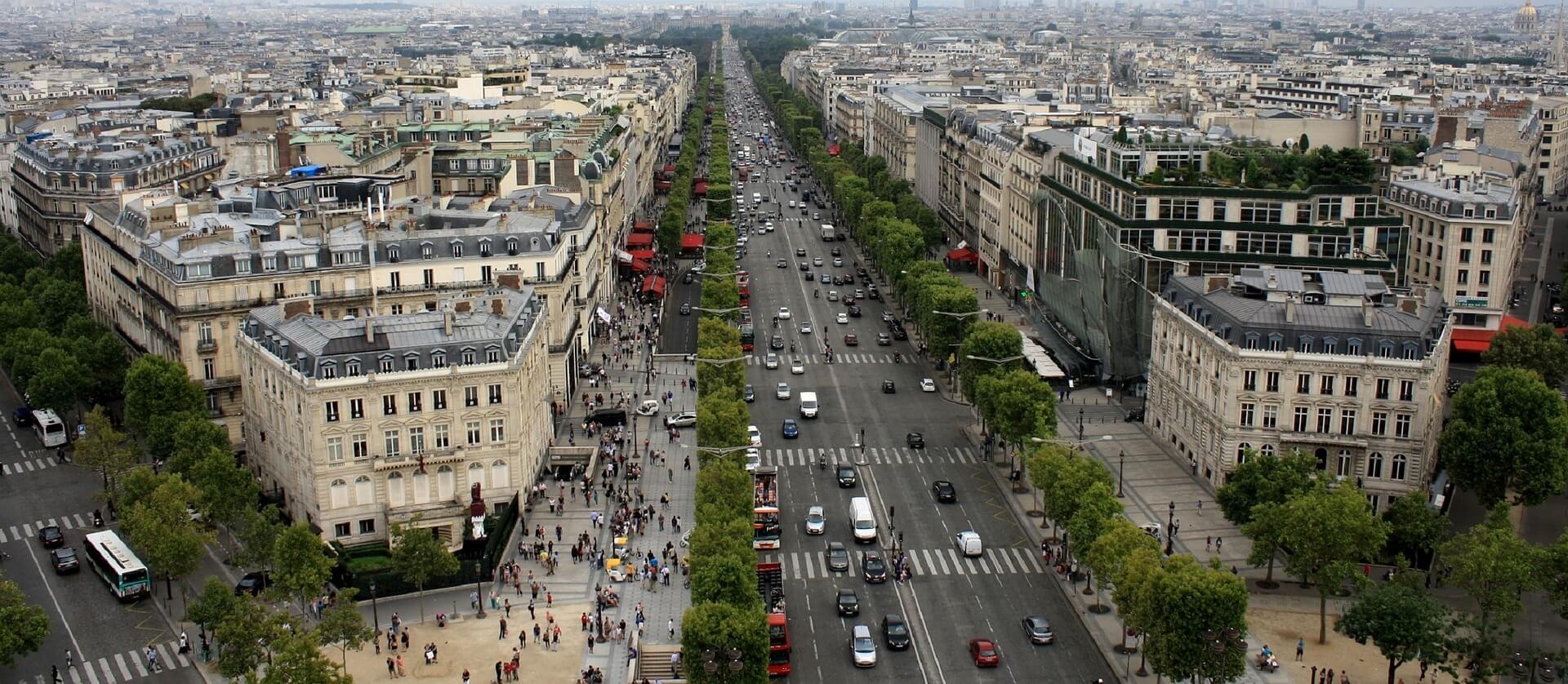 Passeios Paris, vista aérea da Avenida Champs-Élysées