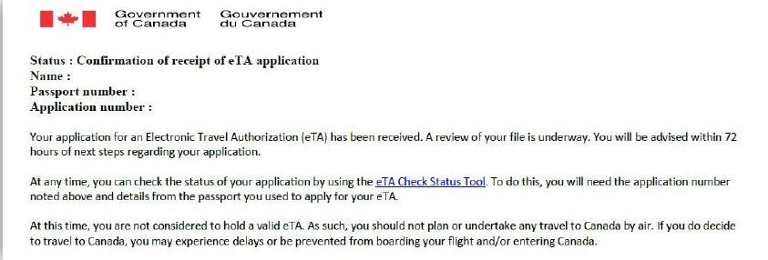 Visto Canadense - Resposta de solicitação do eTA