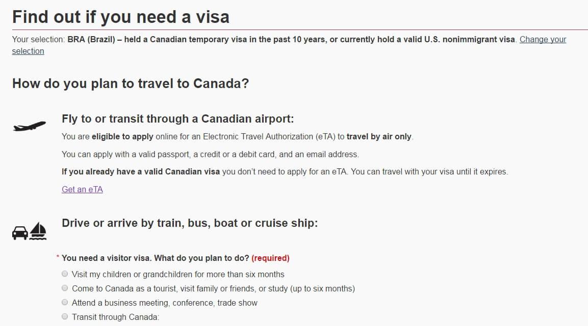 Visto Canadense - Verifique se você está apto a requerer o eTA