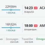 Bug de passagem Amsterdam e Acapulco