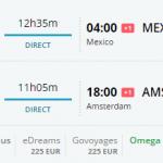 Bug de passagem Amsterdam e México