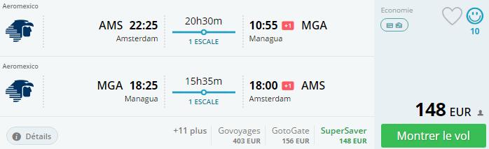 Bug de passagem Amsterdam e Managua