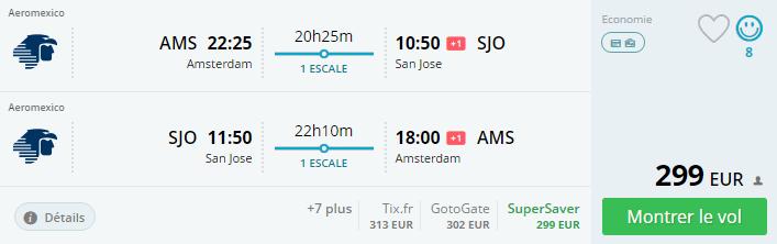 Bug de passagem Amsterdam e San José