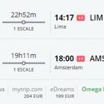 Bug de passagem Amsterdam e lima