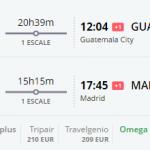 Bug de passagem Madrid e Guatemala