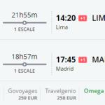 Bug de passagem Madrid e Lima